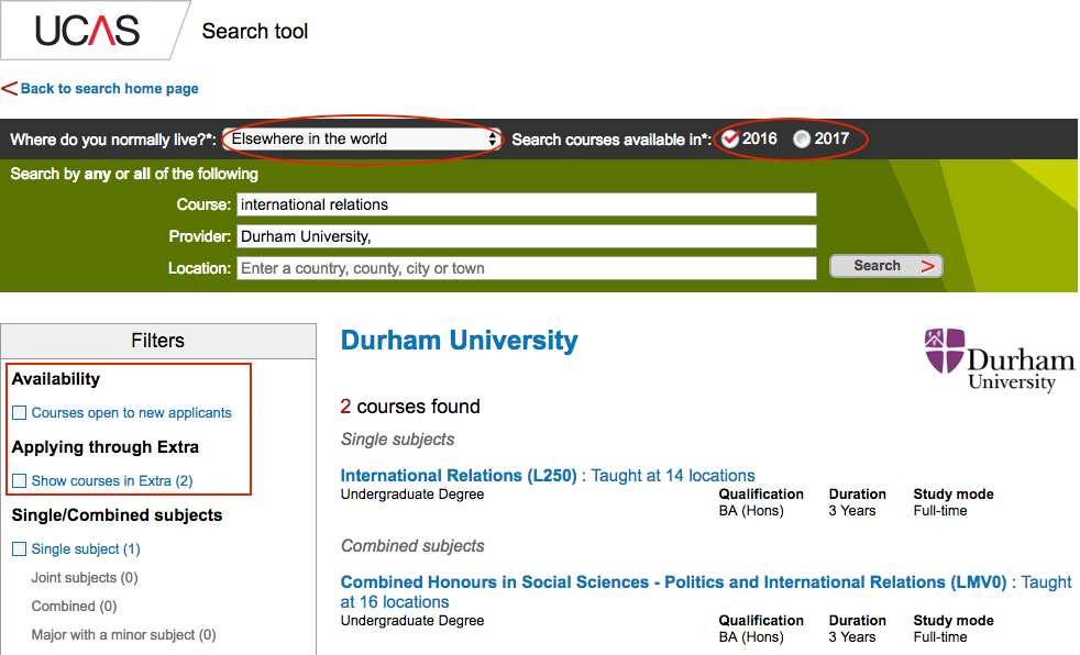 UCAS Search tool